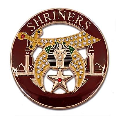 "Shriner Rhinestone Round Burgundy Masonic Auto Emblem - 3"" Diameter: Automotive"