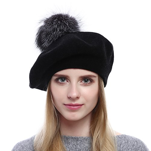 Womens Winter Warm Berets Wool Beanies Knitted Cashmere Hats With Fox Fur PomPom (Black)