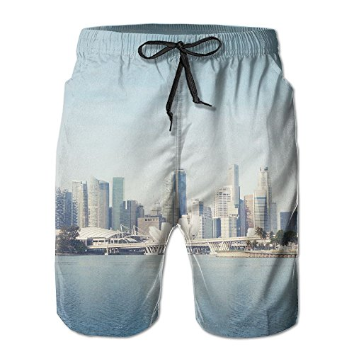 Richard-L Singapore Skyline Singapore S Business District Summer Quick Dry Board/Beach Shorts For Men L (Singapore Triathlon)