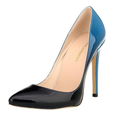 cc50c66bf2f Loslandifen Women s Pionted Toe Double Color Pumps Slender Leather Stiletto  High Heels Wedding Shoes(302