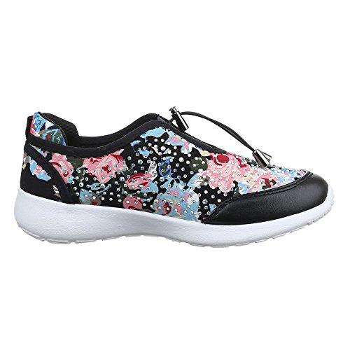 Ital-Design - Zapatillas de casa Mujer Schwarz Multi