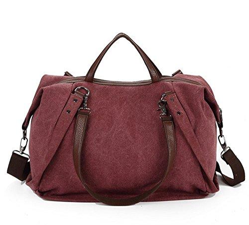 TUODAWEN European-style Medium Size Canvas Travel Totes Shoulder Bag Hobo Bag (Purplish Red)