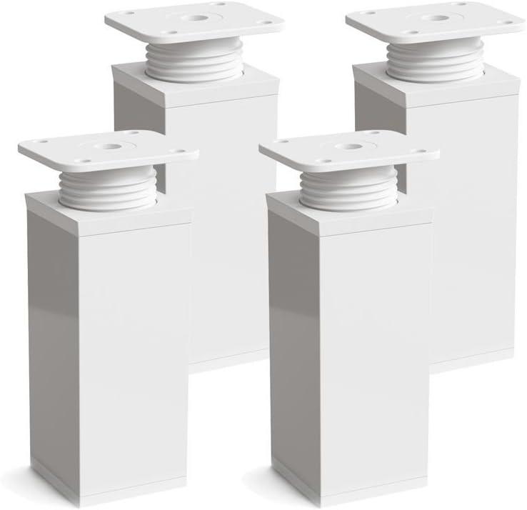 Height: 120 mm +20 mm Pack of 4 Design: Matt Black Height Adjustable Furniture Legs Wood Screws Included Angular Profile: 40 x 40 mm Material: Aluminium Sossai/® MFV1-BM