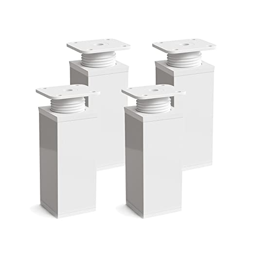 Altura: 100mm +20mm Dise/ño: Inox | Tornillos incluidos Perfil cuadrado: 40 x 40 mm altura regulable Sossai/® MFV1-IX 8 piezas Patas para muebles