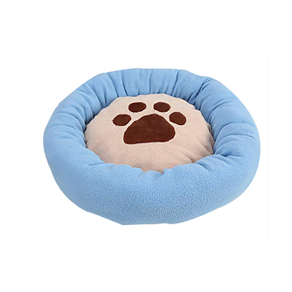 bluee Large bluee Large Winter Super Soft Pet Nest Pad, Thick Warm Round Cotton Velvet Footprints Kennel Pad, Washable, Suitable for Cat Litter Kennel,bluee,L