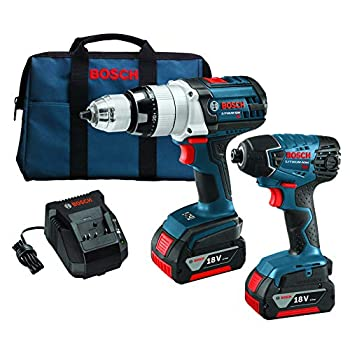 Image of Bosch CLPK221-181 18-Volt Lithium-Ion 2-Tool Combo Kit with 1/2-Inch Brute Tough Drill/Driver, Impact Driver, 2 Batteries, Charger and Case Home Improvements