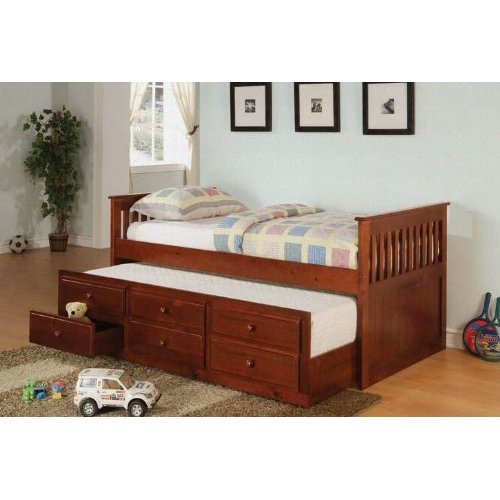 Cherry Finish Twin Daybed with Trundle & Drawers by Coaster