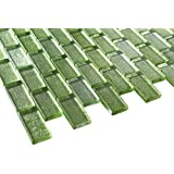 1x2 Glossy Glitter Green Sky Subway Glass Mosaic Tiles for Bathroom and Kitchen Walls Kitchen Backsplashes By Vogue Tile