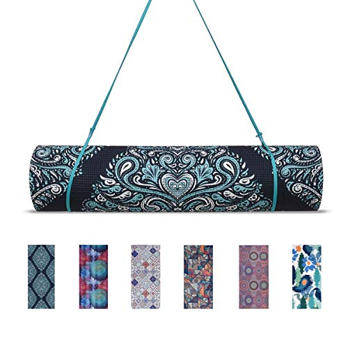 Trideer High-Density Yoga Mat, Premium Printed 1/4″ Extra Thick Non-Slip Eco-Friendly Anti-Tear 6mm Floor Pilates Exercise Mat for Yoga, Workout, Fitness with Carrying Strap (Loving Mandala)