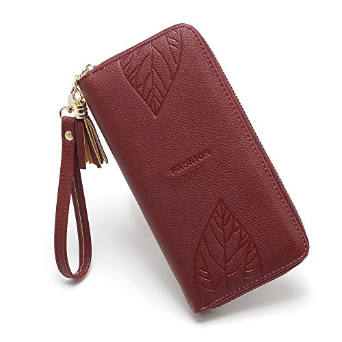Largo Lovely de Hoja Dull con Bolso Mobilphone Colgante Mujer Flecos Color de Patrn rabbit Zero Wallet red Brown qqCv0wpR