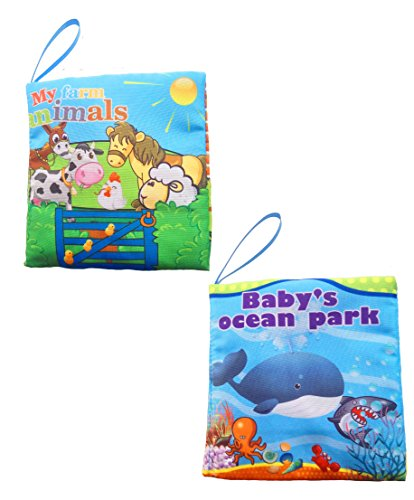 WELLSKEY Set of 2 pcs Soft Book for Babies and Toddler Interactive Education Book(Babys Ocean Park & My Farm Animals)