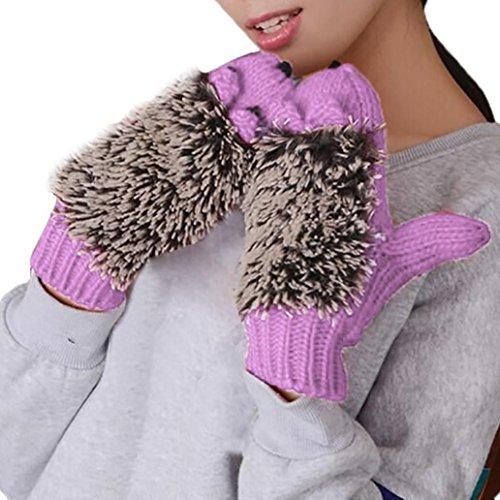 AutumnFallホット。ファッションレディースLovelyレディースdouble-deckミトンニット暖かいハリネズミ手袋