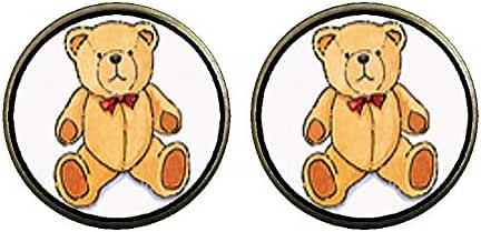 GiftJewelryShop Bronze Retro Style Teddy Bear Red Bow Photo Clip On Earrings 16mm Diameter