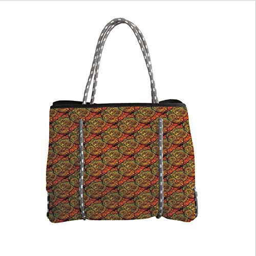 iPrint Neoprene Multipurpose Beach Bag Tote Bags,Paisley,Abstract Ethnic Motif with Blooms with Contour Lines Kitsch Picture,Orange Gold Reseda Green,Women Casual Handbag Tote Bags