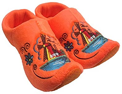 World of Clogs.com Comfy Dutch Clog Slippers - Orange Windmill - UK 10-