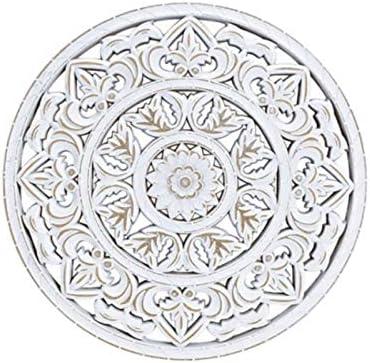 Weiss Wandh/änger mit Blumendekor aus Holz Wandbild Anh/änger Ornamentbild /Ø 35cm x St/ärke 1cm