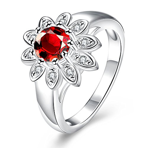 Romantic Fate Red Gemstone Crystal Diamond Accented Sunflower Zircon Silver Plated Women Shining Ring 8# - Punch Sunflower