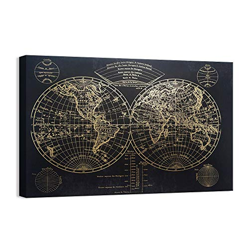 Kas Home Modern Art - Vintage Gold Foil World Map - Black Canvas Prints Large Framed Wall Art Wall Paintings for Living Room Office Wall Decor (32 x 48 Inch, A Framed) (Map Gold Canvas)