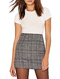 Womens Plaid Pencil High Waist Mini Party Skirt