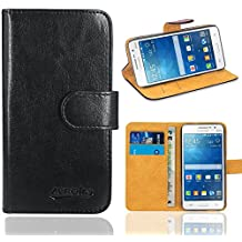 Galaxy Grand Prime Case, FoneExpert® Premium Leather Flip Bag Wallet Case Cover For Samsung Galaxy Grand Prime G530 G5308 (Wallet Black)