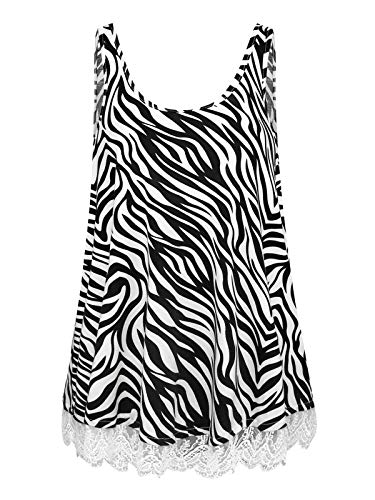 - Plus Size Swing Lace Flowy Tank Top Summer Sleeveless Shirt for Women (White Black Stripes, 3X)