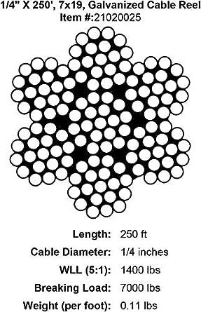 Pro Strand 1 4 X 250 7x19 Galvanized Cable Reel Amazon Com Industrial Scientific