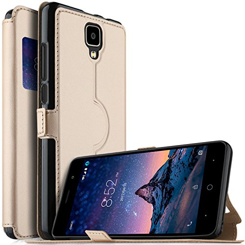 DOOGEE X10 case, KuGi Ultra-Thin SCW Style PU Cover + TPU Back Stand Case for DOOGEE X10 Smartphone(Gold)