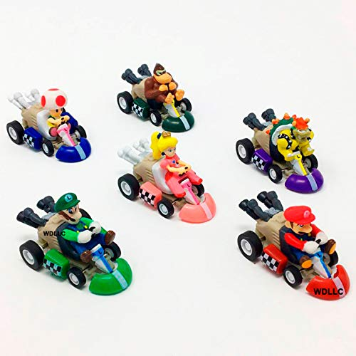 Super Mario Bros Mini Kart Pullback Figure Set of 6 (Kart Mini Car)