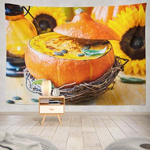 Hdmly Halloween Pumpkin Tapestry Wall Hanging Decor, Decorative Wall Tapestry Cream Pumpkin Soup with Seeds and 60x80 Tapestry Wall Art for Men Kids Home Decor Bedroom Living Room Dorm Tapestry