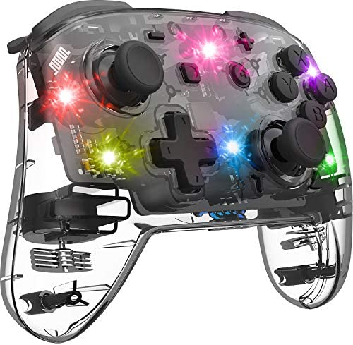 Switch Controller, Pro Controller, Adjustable Turbo Vibration Motion Gyro Ergonomic, Transparent, Wireless Remote, Gamepad with Joystick for Game, Console, Accessories