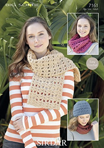 Sirdar Ladies Hat Scarf Snood Big Softie Crochet Pattern 7161