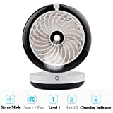 A-SZCXTOP Portable Misting Fan 4 Different Modes Built-in 2000mAh Rechargeable Battery, 35ml Water tank Mini Cooling Moisturizing Humidifier Fan for Indoor and Outdoor--Black