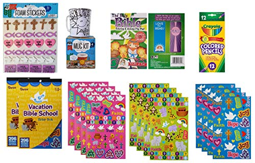 Religious Activity Set for Kids for Girls and Boys Ages 6 and Older | Color A Plastic Mug Kit, Bible School and Glitter Foam Stickers, Holy Bible Coloring Pad, and Crayola Coloring Pencils