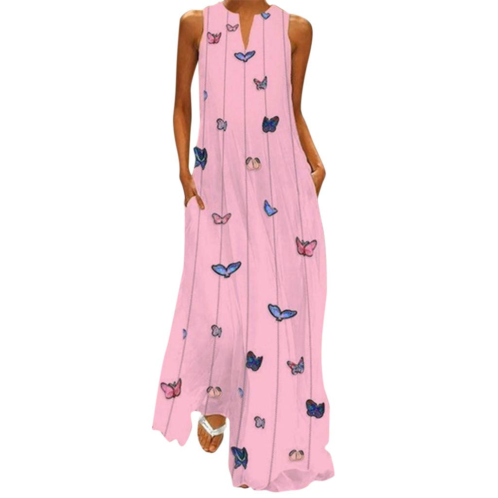 Nmch Women's Vintage Butterflies Print Summer Sleeveless Striped Plus Size Maxi Dress Daily Loose Casual Dresses(Pink,XXL)