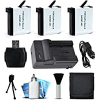 GoPro HERO4 Hero 4 Black Silver Power Pack Accessory Bundle includes (3) AHDBT-401 Batteries + MicroSD Reader + Card Wallet + Home Wall & Car Travel Charger + Mini Tripod + Dust Removal Cleaning Kit