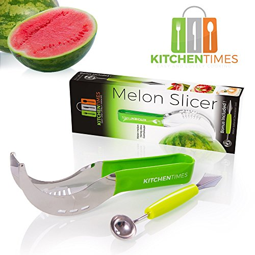 Best Watermelon Slicer & Corer – As Seen On TV – Kitchen Tool For Home Cooks & Professional Chefs –Watermelons, Honeymelon & Cantaloupe Cutter + Extra Bonus Melon Baller!