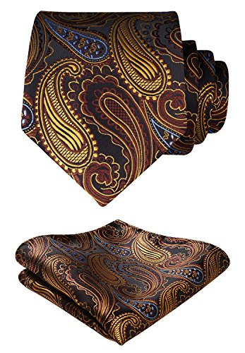 - HISDERN Paisley Floral Wedding Tie Handkerchief Woven Classic Men's Necktie & Pocket Square Set Orange & Brown