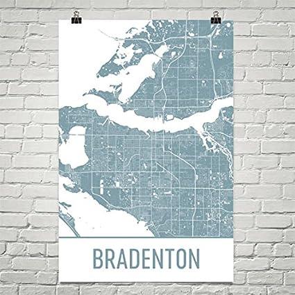 Map Of Bradenton Florida.Amazon Com Modern Map Art Bradenton Map Bradenton Art Bradenton