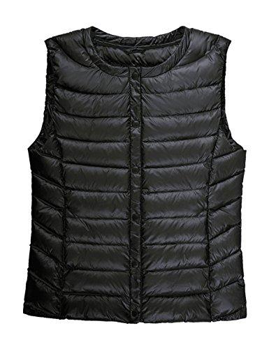 - CHERRY CHICK Women's Ultralight 90% Genuine Down Filled Vest (M, Matt Black)