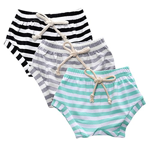 Kids Tales 3-Pack Summer Baby Boys Girls Striped Shorts Bloomers Green, Grey, Black 80(18M) (Jersey Striped Shorts)