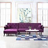Divano Roma Furniture Mid Century Modern Style Velvet Sleeper Futon Sofa, Living Room L Shape Sectional Couch with Reclining Backrest and Chaise Lounge (Purple)