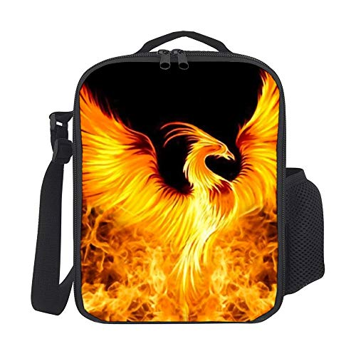 SARA NELL Kids Lunch Backpack Lunch Box Beautiful Fire Phoenix Lunch Bag Large Lunch Boxes Cooler Meal Prep Lunch Tote With Shoulder Strap For Boys Girls Teens Women Adults