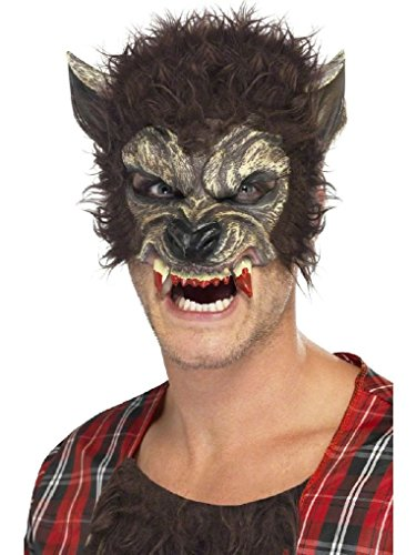 Ponce Werewolf Half Mask Chinless Latex Bloody Fangs Mens Were Wolf Costume (Sexy Werewolf Costume)