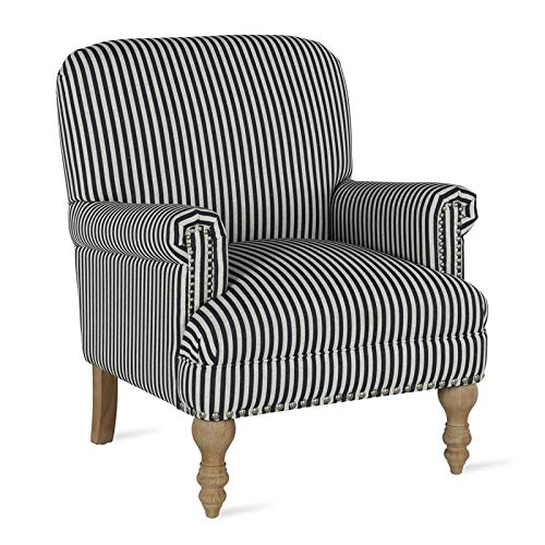 Upholstered Stripe - Dorel Living DA7902-BK Jaya, Black Stripe Accent Chair,