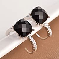 Siam panva Women Fashion 925 Silver Black Onyx Dangle Stud Huggie Earrings Wedding Jewelry