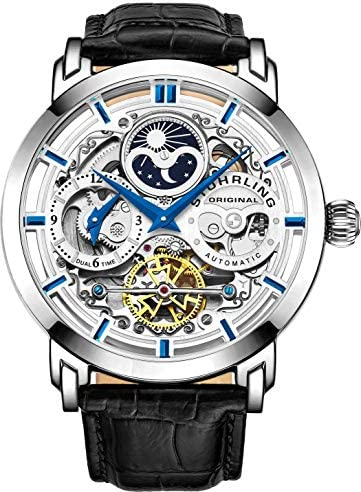 St hrling Original Mens Watch Stainless Steel Automatic, Skeleton Dial, Dual Time, AM PM Sun Moon,Genuine Leather Strap 371 Watches for Men Series