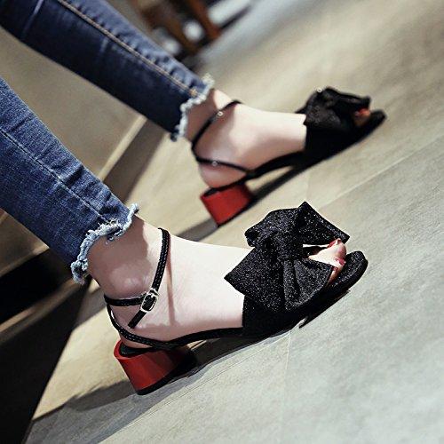 black moda tie toe YMFIE bow sandali diagonali estate dolce Onorevoli toe 7xqq1vA