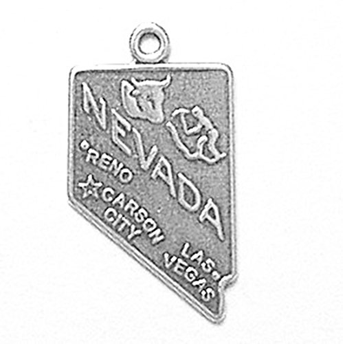 925 Sterling Silver Nevada Charm Pendant State Us America Nv Carson City (Nevada State Charm)