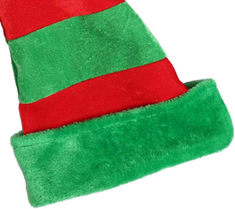 Adult Kid 3D Christmas Party Elf Long Tail Hat Red Green Striped Funny Santa Cap,Unisex Christmas Hats,Festive Holiday Party Supplie,Christmas Design Winter Hat