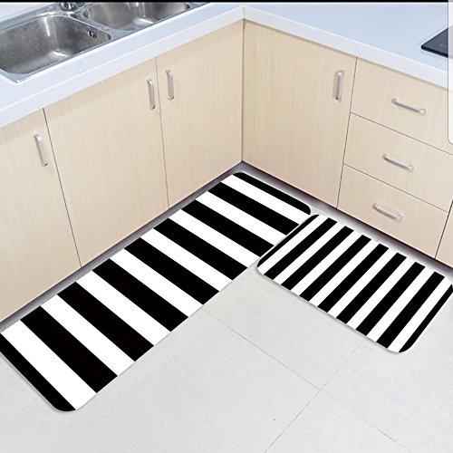 Stripes Yellow Rug - Infinidesign 2 Piece Kitchen Rubber Backing Non-Slip Bath Rugs Runner Doormat Set - Black and White Stripes Runner Carpet Set - 15.7